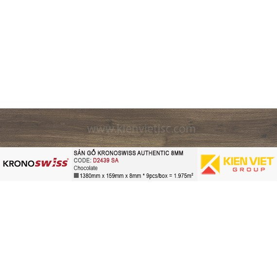 Sàn gỗ Kronoswiss Authentic D2439SA Chocolate | 8mm