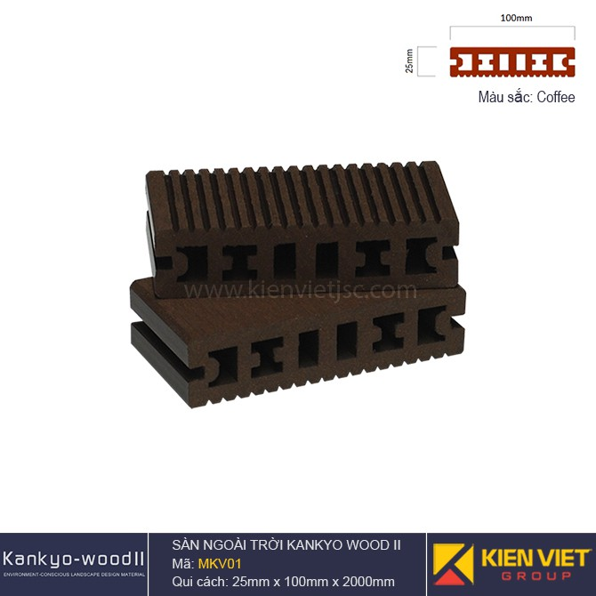 sàn gỗ ngoà trời Kankyo-wood II | MKV01 Coffee
