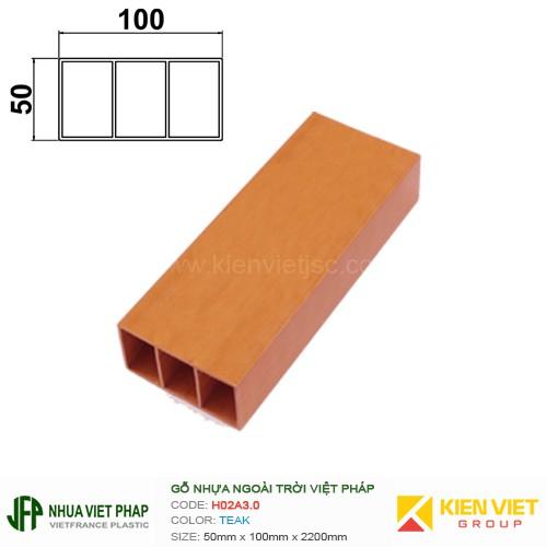 Gỗ nhựa Việt Pháp Ecoplast H02A3.0 | Teak 50x100mm