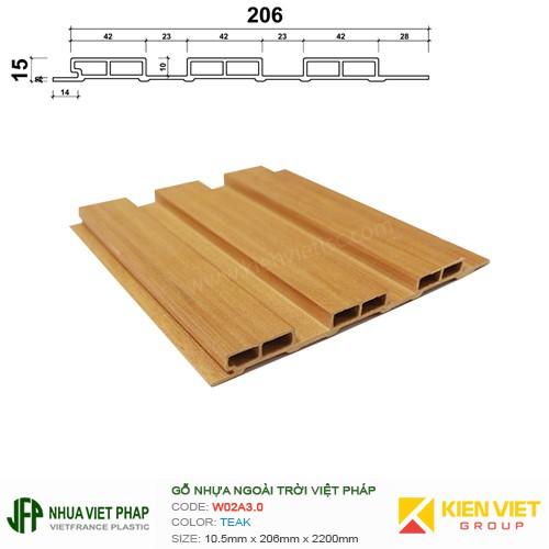 Gỗ nhựa Việt Pháp Ecoplast W02A3.0 | Teak 15x206mm