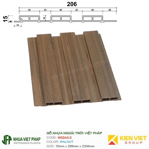 Gỗ nhựa Việt Pháp Ecoplast W02A3.0 | Walnut 15x206mm