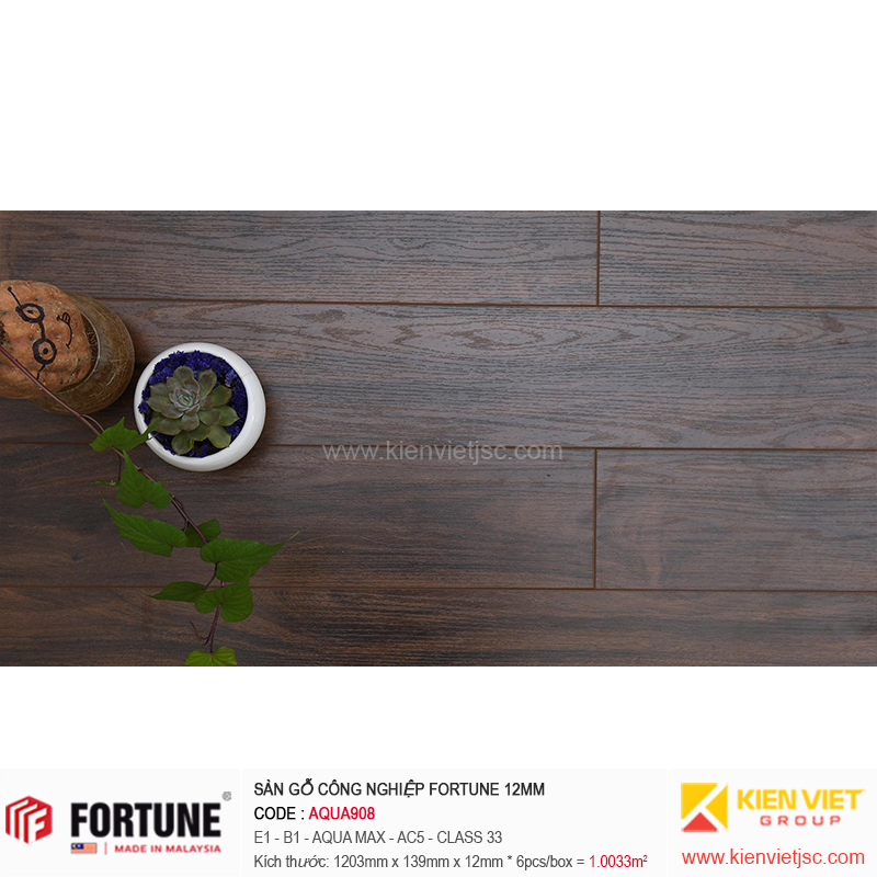 Sàn gỗ công nghiệp Fotune Aqua908 | 12m