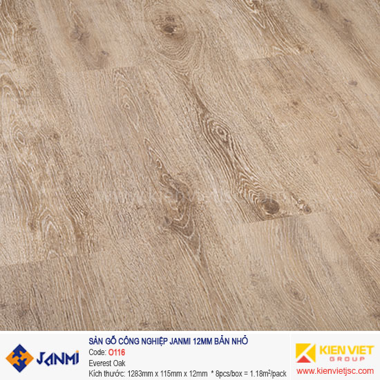 Sàn gỗ Janmi O116 Everest Oak | 12mm bản nhỏ