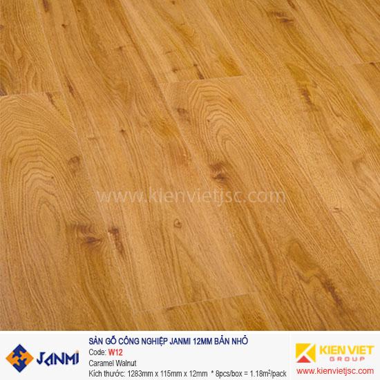 Sàn gỗ Janmi W12 Caramel Walnut | 12mm bản nhỏ