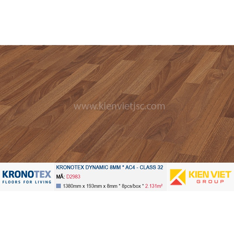 Sàn gỗ Kronotex Dynamic D2983 Elegant Walnut 8mm