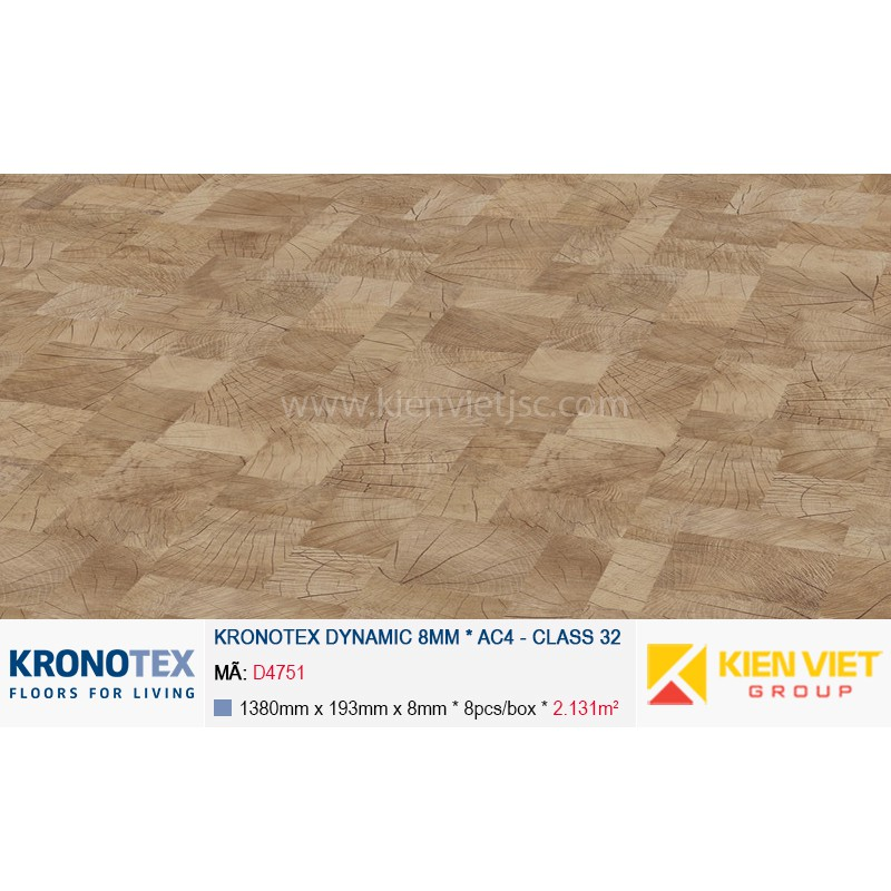 Sàn gỗ Kronotex Dynamic D4751 Block wood nature 8mm