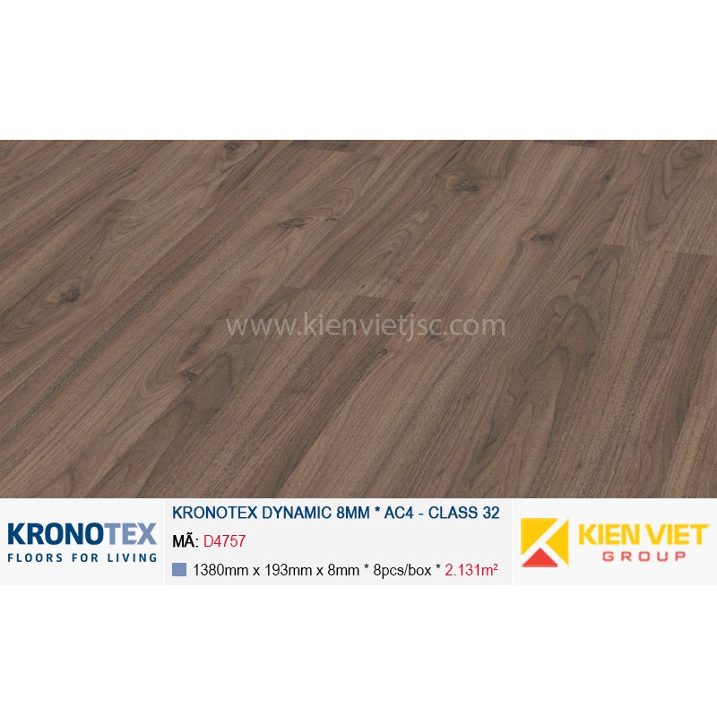 Sàn gỗ Kronotex Dynamic D4757 Walnut Palazzo 8mm