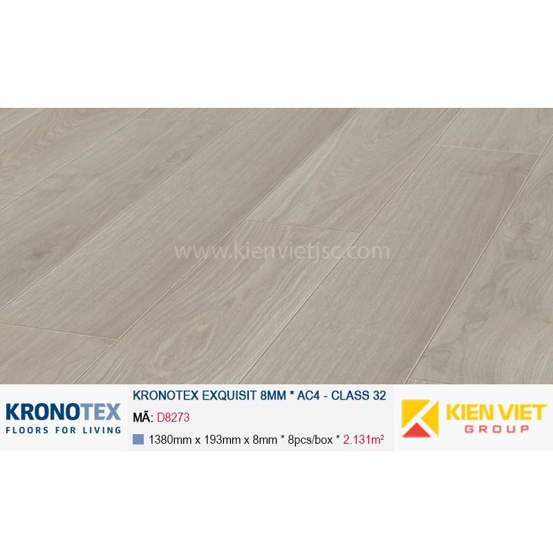 Sàn gỗ Kronotex Exquisit D2873 Waveless Oak White | 8mm