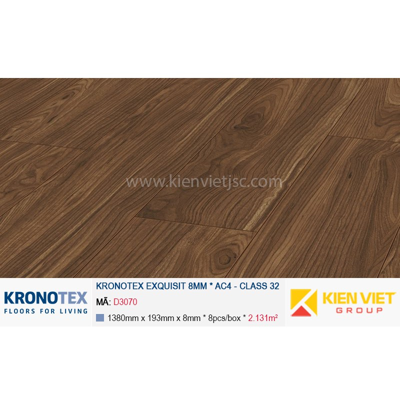 Sàn gỗ Kronotex Exquisit D3070 Tuscany Walnut | 8mm