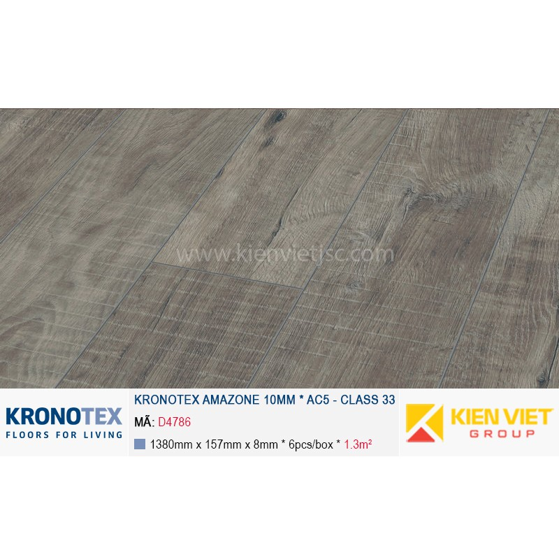 Sàn gỗ Kronotex Amazone D4786 Gala Oak Grey | 10mm