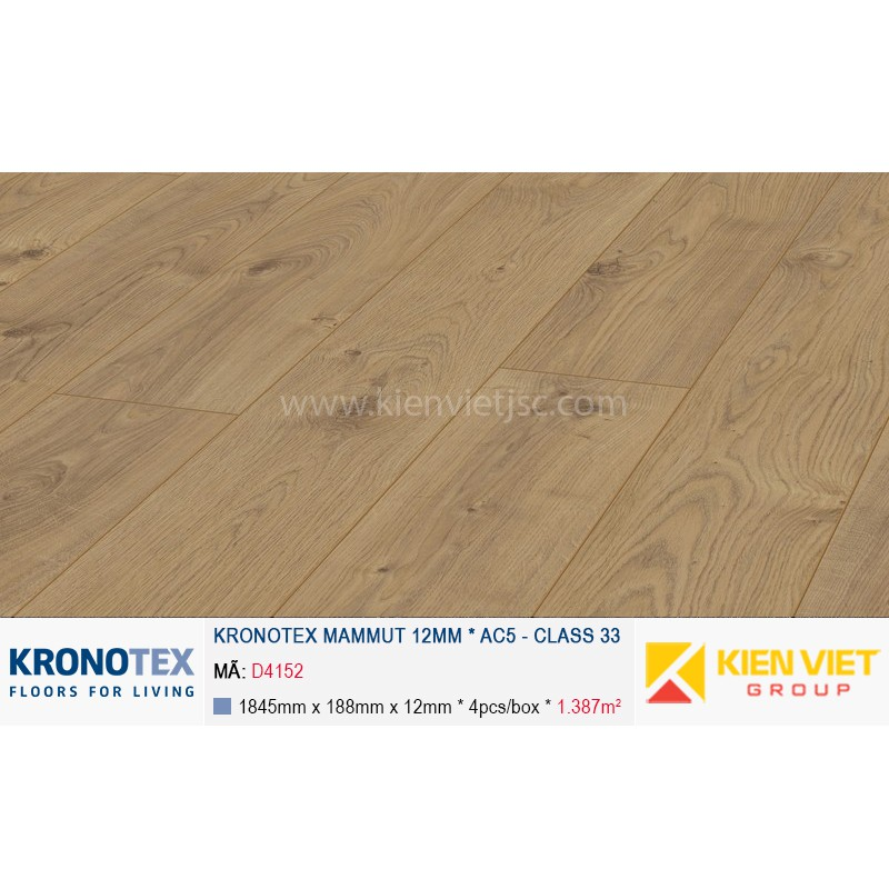Sàn gỗ Kronotex Mammut D4152 Everest Oak Nature | 12mm