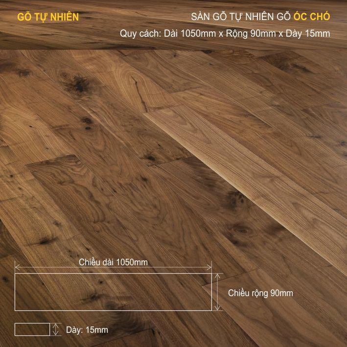 Sàn gỗ tự nhiên óc chó 1050x15mm