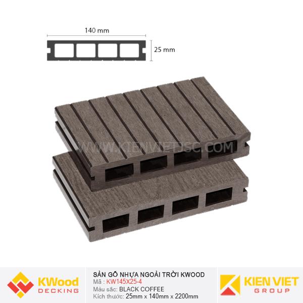 Sàn gỗ ngoài trời Kwood KW140x25-4 Black Coffee