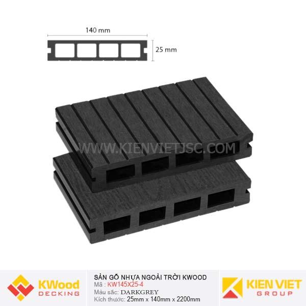 Sàn gỗ ngoài trời Kwood KW145x25 Darkgrey