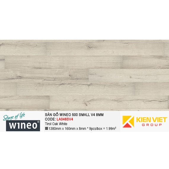 Sàn gỗ Wineo Small 500 V4 - LA046SV4 | Tirol Oak White 8mm