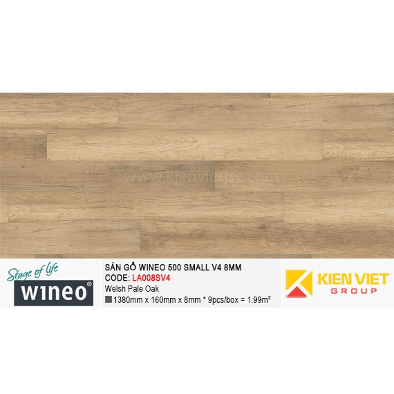 Sàn gỗ Wineo Small 500 V4 - LA008SV4 | Welsh Pale Oak 8mm