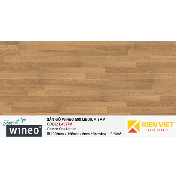 Sàn gỗ Wineo 500 Medium - LA027M | Garden Oak Nature 8mm