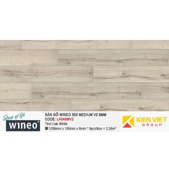 Sàn gỗ Wineo 500 Medium V2 - LA046MV2 | Tirol Oak White 8mm