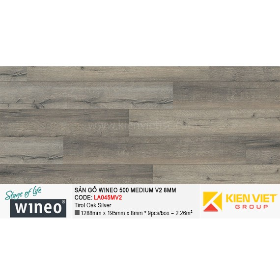 Sàn gỗ Wineo 500 Medium V2 - LA045MV2 | Tirol Oak Silver 8mm