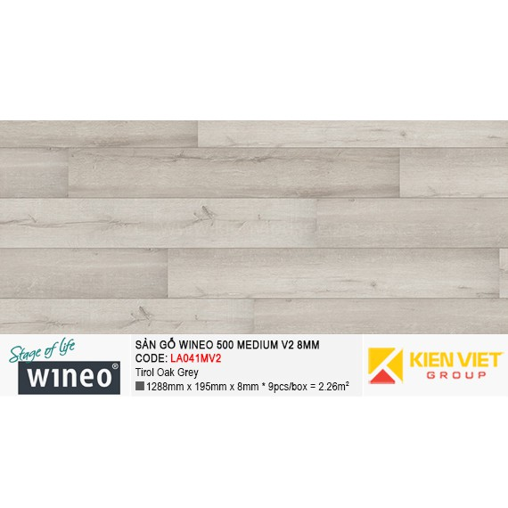 Sàn gỗ Wineo 500 Medium V2 - LA041MV2 | Tirol Oak Grey 8mm