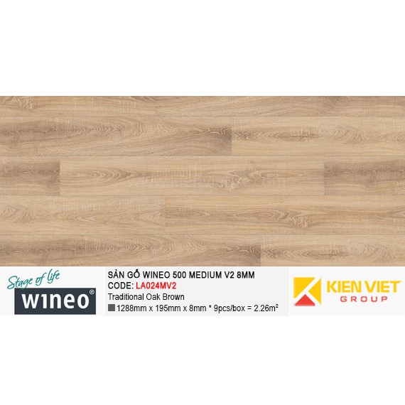 Sàn gỗ Wineo 500 Medium V2 - LA024MV2 | Traditional Oak Brown 8mm
