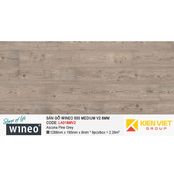 Sàn gỗ Wineo 500 Medium V2 - LA018MV2 | Ascona Pine Grey 8mm